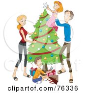Royalty Free RF Clipart Illustration Of A Father Lifting His Daughter To Put The Topper On A Christmas Tree The Mom Watching And Son Wrapping Presents by BNP Design Studio