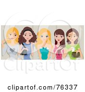 Row Of Pretty Women Chatting And Applying Makeup In A Restroom