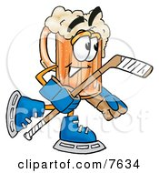 Clipart Picture Of A Beer Mug Mascot Cartoon Character Playing Ice Hockey
