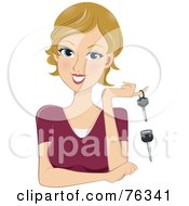 Royalty Free RF Clipart Illustration Of A Young Blond Woman With Old And New Keys by BNP Design Studio