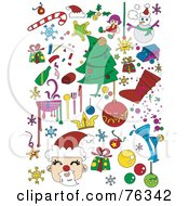 Royalty Free RF Clipart Illustration Of A Digital Collage Of Christmas Icons And Items by BNP Design Studio