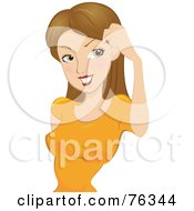 Royalty Free RF Clipart Illustration Of A Pretty Dirty Blond Woman Brushing Her Hair Away From Her Eyes
