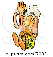Clipart Picture Of A Beer Mug Mascot Cartoon Character Plugging His Nose While Jumping Into Water