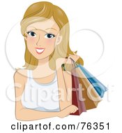 Royalty Free RF Clipart Illustration Of A Young Blond Woman Holding Shopping Bags Over Her Shoulder