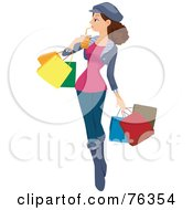 Royalty Free RF Clipart Illustration Of A Brunette Girl Sipping A Beverage And Carrying Shopping Bags
