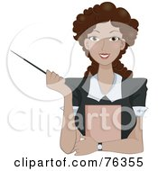 Royalty Free RF Clipart Illustration Of A Friendly Curly Haired Brunette Business Woman Or Teacher Holding A Pointer