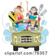 Royalty Free RF Clipart Illustration Of A Group Of Young Men And Women Driving To The Beach In A Jeep