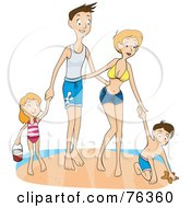 Happy Family Of Four Playing Together On A Beach