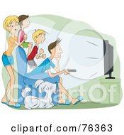 Royalty Free RF Clipart Illustration Of A Family Of Four And Their Dog Watching Television In A Theater Room by BNP Design Studio