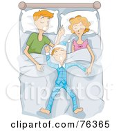 Royalty Free RF Clipart Illustration Of A Mom Dad And Son Sleeping In A Bed