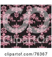 Royalty Free RF Clipart Illustration Of A Black And Pink Damask Seamless Background Pattern
