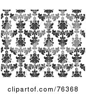 Royalty Free RF Clipart Illustration Of A Black And White Damask Seamless Background Pattern by BNP Design Studio