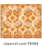 Royalty Free RF Clipart Illustration Of A Brown And Orange Damask Seamless Background Pattern by BNP Design Studio