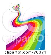 Royalty Free RF Clipart Illustration Of A Butterfly Leaving A Wavy Rainbow Trail by BNP Design Studio