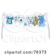 Royalty Free RF Clipart Illustration Of A Clothesline With Baby Boy Clothes Hung Out To Dry