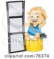 Royalty Free RF Clipart Illustration Of A Baby Boy Photographer Sitting By Film by BNP Design Studio