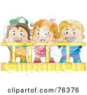 Royalty Free RF Clipart Illustration Of A Baby Girl And Her Brothers Or Friends In A Crib by BNP Design Studio