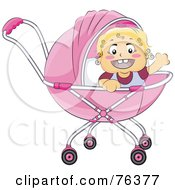 Royalty Free RF Clipart Illustration Of A Blond Baby Girl Waving In A Pink Baby Pram by BNP Design Studio