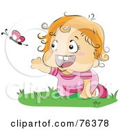 Royalty Free RF Clipart Illustration Of A Blond Baby Girl Chasing A Butterfly While Crawling On Grass