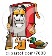 Clipart Picture Of A Red Book Mascot Cartoon Character Duck Hunting Standing With A Rifle And Duck