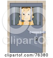 Royalty Free RF Clipart Illustration Of A Troubled Boy Locked Behind Bars
