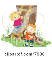 Royalty Free RF Clipart Illustration Of Two Boys Climbing A Ladder To A Tree House by BNP Design Studio