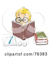 Royalty Free RF Clipart Illustration Of A Smart Blond Boy Wearing Glasses And Reading Books