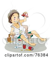 Royalty Free RF Clipart Illustration Of A Troubled Boy Doing Drugs And Playing