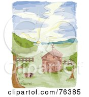Royalty Free RF Clipart Illustration Of A Watercolor Of A Farm Barn At Sunrise by BNP Design Studio
