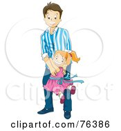 Royalty Free RF Clipart Illustration Of A Little Girl Running And Jumping On Her Father