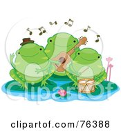 Royalty Free RF Clipart Illustration Of A Green Frog Trio Band On Lily Pads by BNP Design Studio