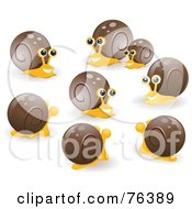Royalty Free RF Clipart Illustration Of A Group Of Happy Socializing Snails