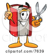 Red Book Mascot Cartoon Character Holding A Pair Of Scissors