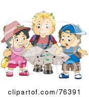Royalty Free RF Clipart Illustration Of A Girl And Two Boys Exploring With A Treasure Map
