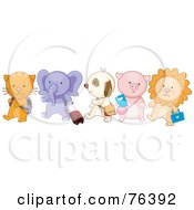 Royalty Free RF Clipart Illustration Of A Group Of School Animals Walking In Line Cat Elephant Puppy Piglet And Lion by BNP Design Studio