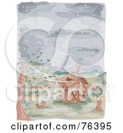 Watercolor Of A Farm Barn During A Typhoon