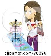 Royalty Free RF Clipart Illustration Of A Brunette Girl Shoplifting In A Store