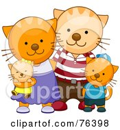 Royalty Free RF Clipart Illustration Of A Happy Orange Cat Family Of Four With Parents And Kittens