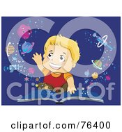 Royalty Free RF Clipart Illustration Of A Blond Boy Reaching Out To Touch Planets Emerging From An Open Book by BNP Design Studio