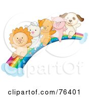 Royalty Free RF Clipart Illustration Of A Lion Lamb Kitten Piglet And Puppy Sliding Down A Rainbow by BNP Design Studio