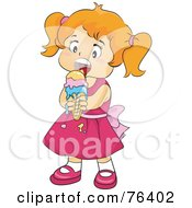 Royalty Free RF Clipart Illustration Of A Little Girl In A Pink Dress Enjoying A Melting Ice Cream Cone