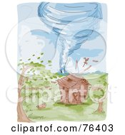 Watercolor Of A Tornado Heading Towards A Farm Barn