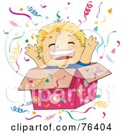 Royalty Free RF Clipart Illustration Of A Happy Boy Popping Out Of A Gift Box At A Surprise Party