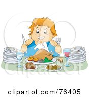 Royalty Free RF Clipart Illustration Of A Chubby Woman Feasting On A Turkey Meal With Plates At Her Sides
