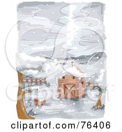Watercolor Of A Farm Barn In The Snow