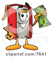 Clipart Picture Of A Red Book Mascot Cartoon Character Holding A Dollar Bill