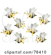 Royalty Free RF Clipart Illustration Of A Group Of Happy Bumble Bees Flying by BNP Design Studio