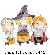 Royalty Free RF Clipart Illustration Of A Halloween Mummy Witch And Vampire Trick Or Treating by BNP Design Studio