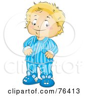 Royalty Free RF Clipart Illustration Of A Blond Boy In His Pajamas And Bunny Slippers