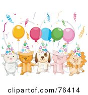Royalty Free RF Clipart Illustration Of A Lamb Kitten Puppy Piglet And Lion With Birthday Party Balloons And Confetti